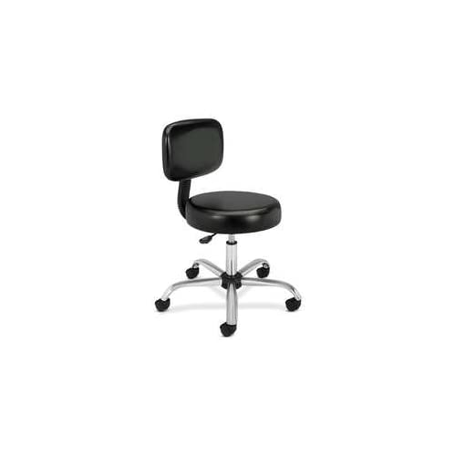New   Medical Exam Stool with Back, 24 1/4 x 27 1/4 x 36, Black by HON