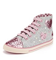 Lace Up High Top Sequin Embellished Heart Trainers