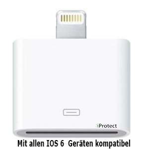 iProtect Premium Lightning 8 auf 30-polig Adapter / Lightning Adapter / Dockingstation für das neue Apple iPhone 5 /