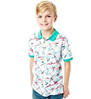 Pure Cotton Parrot & Coconut Tree Print Polo Shirt