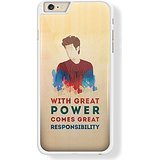 Spiderman Quote Great Power Great Responsibility s4 for iPhone 6 Plus White case