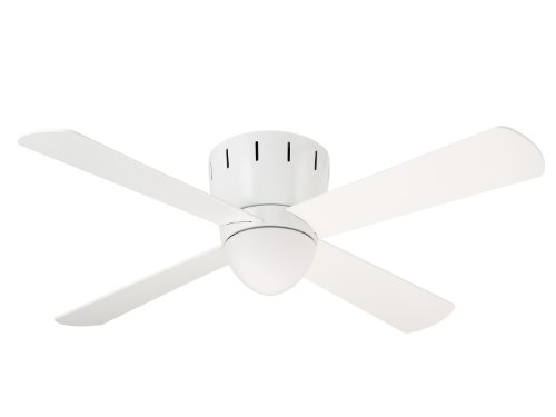 Emerson Ceiling Fans CF530WW Wyatt Modern Low Profile Hugger Ceiling Fan With Light And Wall Control, 48-Inch Blades, Appliance White Finish (Black Ceiling Fan 48 Industrial compare prices)