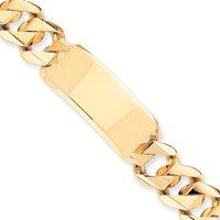14k Hand-Traditional Heavy ID Bracelet - 8.5 Inch - 19mm - Box Clasp - JewelryWeb
