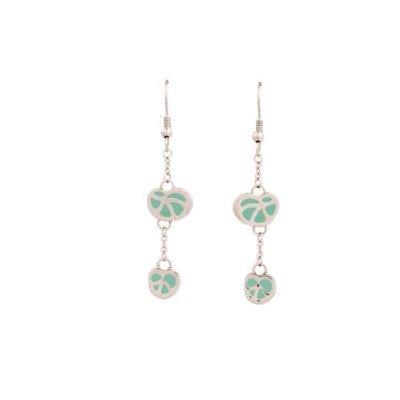 PlusMinus 316L Stainless Steel Green Long Chain Dangle Earrings For Women + Gift Box