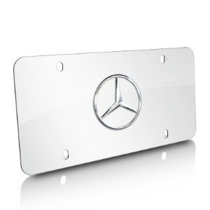 Genuine mercedes benz star logo on polished steel license for Mercedes benz license plate logo