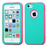 Product B00HS8XSVU - Product title MyBat Hybrid Protector Cover for Apple iPhone 5C - Retail Packaging - Rubberized Teal Green/Lightning Electric Pink Verge
