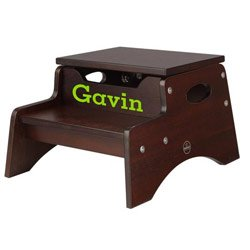 Personalized Espresso Step 'n Store Stool - Serf Font, Lime Color Font by KidKraft