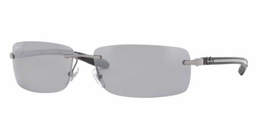 Ray-Ban 8304 004/82 Gunmetal 8304 Carbon Fibre Rimless Sunglasses Polarised Lens Category 3