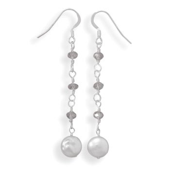 Cultured Freshwater Coin Pearl and Crystal Drop Earrings