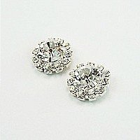 LJ Designs Diamante Crystal Tiffany Stud Earrings (E425) - Swarovski Crystal - Gold or Silver Finish