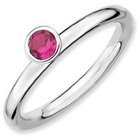 0.32ct Silver Stackable High 4mm Round Ruby Ring. Sizes 5-10 Available