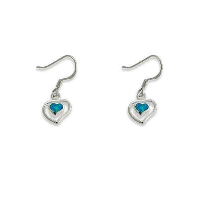 New Dangling Earrings Sterling Silver Blue Inlay Opal Center Heart with Outer Open Heart Style(WoW !With Purchase Over $50 Receive A Marcrame Bracelet Free)
