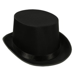 Satin Sleek Top Hat (black) Party Accessory  (1 count)