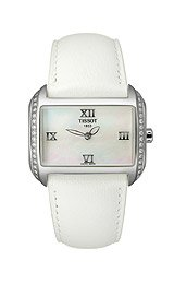 Tissot Women's T023.309.16.113.01 T-Wave Mother-Of-Pearl Dial Leather Strap Watch