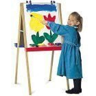 Quartet 3 in 1 Art Easel, 47 Inches Tall, 23.5 x 20 Inch Whiteboard/Chalkboard Panels, Includes 4 Easel Clips and 2 Trays, Oak Frame (XEH023)