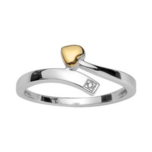 Helios Bijoux Women's Heart-Shaped Silver Ring Wedding & 18 k Gold Rhodium Plated Diamond-Size 52/New/FranceBijoux