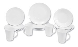 Churchill Serenity Dinner Set Fine Bone China 16 Piece 4 Plates 4 Tea Plates 4 Bowls White Ref SERE161 by Churchill
