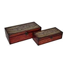 Cheungs FP-4063-2TR Set Of 2 Wooden Boxes With Theatris Orbis Terrarum Map On Top