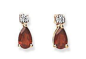 9k Gold Garnet Pear & Cubic Zirconia Earrings Made With Swarovski Zirconia