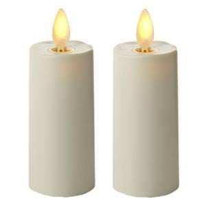 """Luminara 02020 - 1.75"""" x 3"""" Ivory (Unscented) Votive Wavy Edge Realistic Flame LED Plastic Candle Light with Timer (2 pack)"""