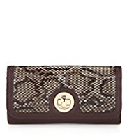 M&S Collection Faux Snakeskin Design Twistlock Purse