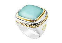 Aqua Chalcedony Rope Ring 14K Two Tone (White Yellow) Gold - 10.00 CT TGW