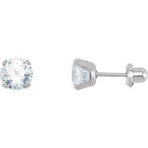 Genuine IceCarats Designer Jewelry Gift Sterling Silver Inverness Palladium Platecz Er. Pair 02.00 Mm Inverness Palladium Plate Cubic Zirconia Earrings Inverness Palladium Platecz Er In Sterling Silver