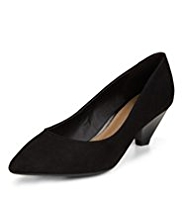 Footglove™ Suede Wide Fit Pointed Toe Court Shoes