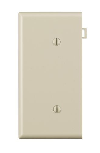 Leviton Pse14-T 1-Gang No Device Blank Wallplate, Sectional, Thermoplastic Nylon, Strap Mount, End Panel, Light Almond