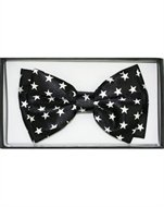 Outer Rebel White Stars on Black Bow Tie