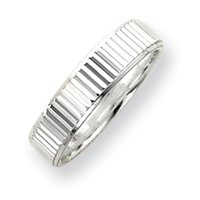 Sterling Silver 5mm Diamond-cut Band Ring - Size 6 - JewelryWeb