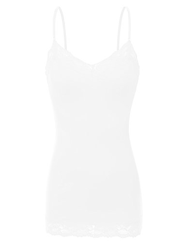 RT1004 Ladies Adjustable Spaghetti Strap Lace Trim Long Tunic Cami Tank Top White M (White Lace Tank compare prices)