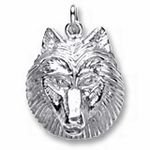Rembrandt Charms Wolf Head Charm - Sterling Silver