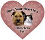 ハ?ト型マグネット『ホームレスのペットに心を開こう!』Open your heart to a homeless pet!
