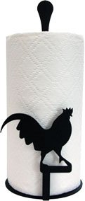 Village Wrought Iron PT-C-1 Paper Towel Holder - Rooster Silhouette