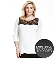 Plus Floral Lace Yoke Top with StayNEW™