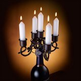 Rustic Vine Iron 5-Piece Taper Holder Candelabra (Wine Bottle And Taper Candles Not Included )
