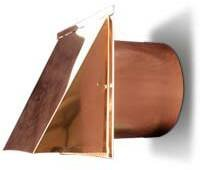 6 Inch Copper Exterior Side Wall Cap with Damper and Screen