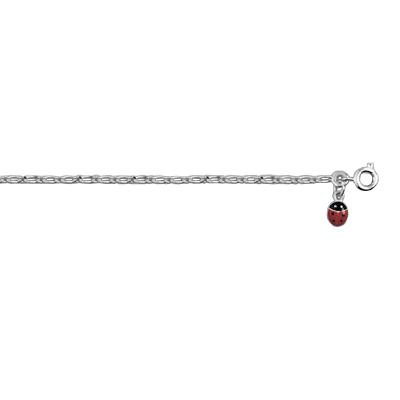 Childrens Sterling Silver Ladybug Ladybird 16 cm Curb Chain Bracelet
