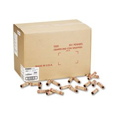 -- Preformed Tubular Coin Wrappers, Pennies, $.50, 1000 Wrappers/Box mystery mot 3333