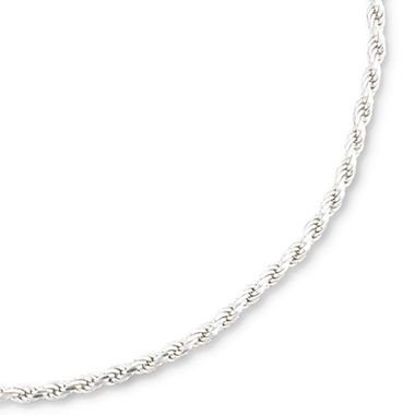 Italian Solid Sterling Silver Diamond Cut Rope Chain, 1.8 mm Width, Packaged in an Organza Jewelry Gift Bag