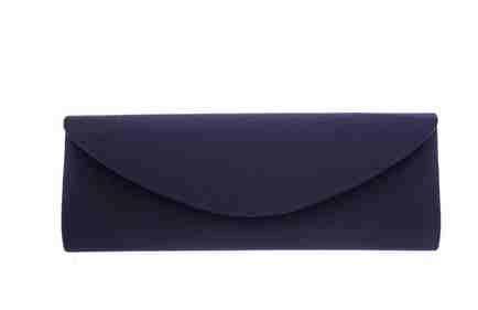 Navy slim long satin clutch bag handbag with magnetic snap closure by Olga Berg