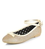 Pointed Toe Glitter Bow Ballet Pumps