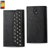 buy Reiko Studded Flip Case For Samsung Galaxy Note 3 - Retail Packaging - Black