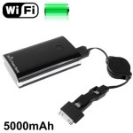 2 in 1 WIFI Wireless Router + 5000mAh Power Bank for iPhone 4 & 4S / 3GS / Samsung / HTC (Black)