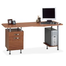 Espresso PC Desk with File Medium Cherry