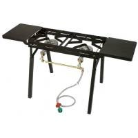 Bayou Classic Dual Burner Outdoor Patio Stove w/ Legs , Folding Shelves - DB350/DB375