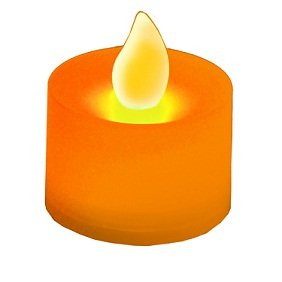 Club Pack of 12 LED Lighted Battery Operated Orange Tea Light Candles