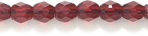 Preciosa Czech 4-mm Fire-Polished Glass Bead, Faceted Round, Transparent Garnet, 200/pack