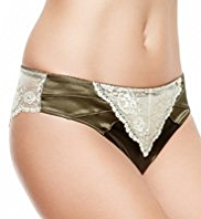 Rosie for Autograph Silk Brazilian Knickers with French Designed Rose Lace